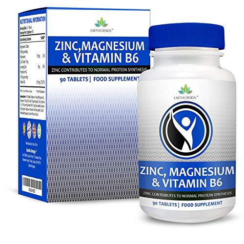 ZMA - Suplemento de Zinc y Magnesio con Vitamina B6 - Suplemento Deportivo Mineral y Vitamínico - Incrementa Los Niveles de Energía y Fuerza - 90 Cápsulas (Suministro Para 2 Meses) de Earths Design