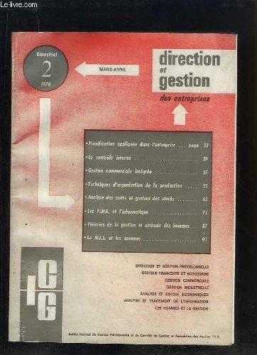 Direction et Gestion N°2 : Planification appliquée dans l'entreprise - Le contrôle interne - Les PME et l'informatique ... par COLLECTIF
