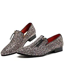 Mocasines para Hombres Zapatos de Vestir con Punta Estrecha Brillos Oxford