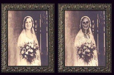 """Preisvergleich Produktbild Halloween Bild Verwandlungsbild Horror Galerie des Grauens 17 """"Todglückliche Braut mit leichen Verfallserscheinungen"""" XL 48 cm x 36 cm der Blickwinkel verändert das Bild Party Deko"""