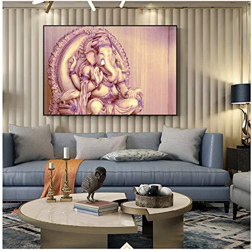 Klassische Hindu Götter Wandkunst Leinwand Ganesha Götter Leinwand Gemälde An Der Wand Hinduismus Dekorative Bilder Wohnkultur-60x90cm Kein Rahmen