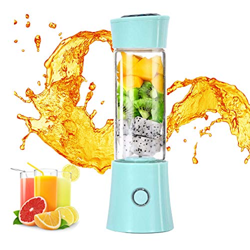 Lesgos Tragbare elektrische Juicer Cup, Smoothie-Mixer USB Juicer Cup Fruit Mixing Machine mit sechs Klingen und USB-Ladegerät-Kabel für Home Office Outdoor, 480ml - Mixer-cup Power