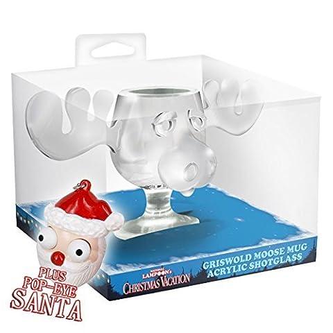 2er Set Mini Moose Mug Shot Version Schnaps und Likörglas inklusive Santa Pop Eye Schlüsselanhänger Elchglas aus Acryl Schöne Bescherung offiziell lizensiertes National Lampoons Christmas Vacation (Weihnachts-national Lampoon)
