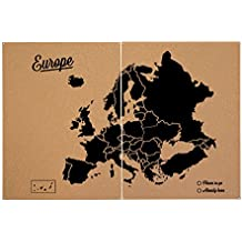 Miss Wood Woody Map XXL - Mapa del mundo de corcho con diseño Europa , color negro