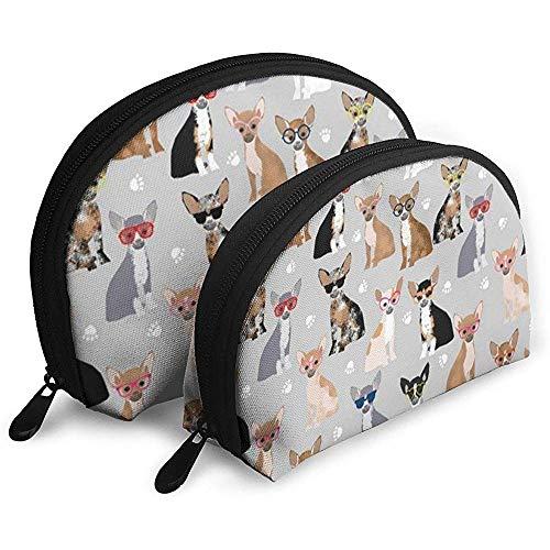 2 STÜCK Kosmetische Reise Aufbewahrungstasche Chihuahua Hund Tragbare Taschen Clutch Pouch Geldbörse Schreibwaren Bleistiftbeutel -