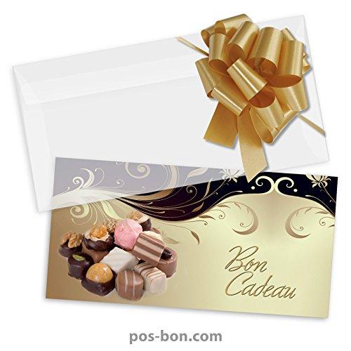 50 Bons cadeaux + 50 enveloppes + 50 noeuds rubans pour confiseries, chocolatiers FK9310F