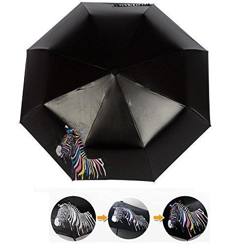 Wasserdicht Regenschirm WACOM Compact Parasol - Manuelle Farbwechsel - UV-Schutz / Regen und Sonnenschirm (Zebra Muster)