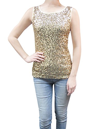 Shine Glitzer-Pailletten Verziert Ärmellos Boot-Ausschnitt Tank Top (Pailletten-gold Top)