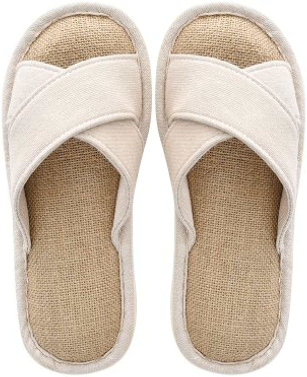 fankou Couple of Cool Summer Linen Slippers for Men and Women Home Bedroom Home Wooden Floor Slippers Thick, Non-Slip...