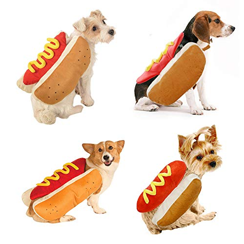 Fansu Halloween Kostüm Hund Haustier Hund Katze Halloween Kostüme, Einstellbare Warme Kleidung Netter mit Kapuze Pullover Hundepullover Party Cosplay Dekoration (L,Hot Dog)