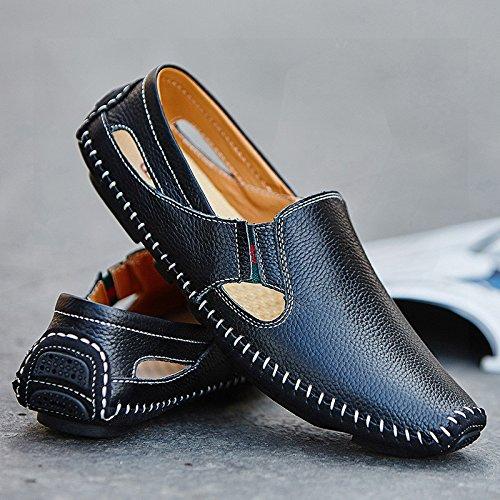 Korean Doug Chaussures Mens Des Chaussures En Cuir Xl Xxl Youth Sandales Chaussures Black