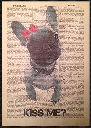 Französische Bulldogge Print Vintage Wörterbuch Seite Art Wand Bild Frenchie Welpe