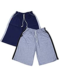 Men's Shorts For Perfect Fit And Wonderful New Collection FREE SIZE (Pack Of 2) (Free Size, Navy & Grey Melange)