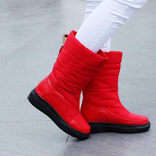 Tefamore Bottes de neige chaude hiver Chaussures de coton Bottes de genou Bottes de femmes Rouge