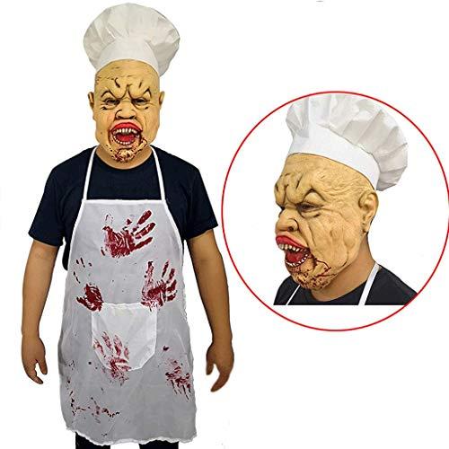 Ghost Killer Kostüm Face - Latex Vollkopf Maske Halloween Kostüm Monster Maske Blood Face Crazy Evil Killer Kostüm Für Erwachsene Gruselige Ghost Ghoul Maske Mit Hutschürze,A