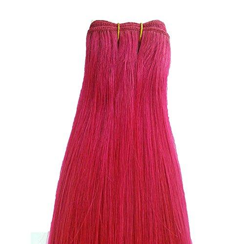 Meisi Hair Extension capillaire pour femme Cheveux lisses brésiliens Remy Rose 45 cm