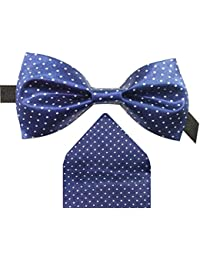 Navy Blue Polka print Bowtie With Pocket Square For Men
