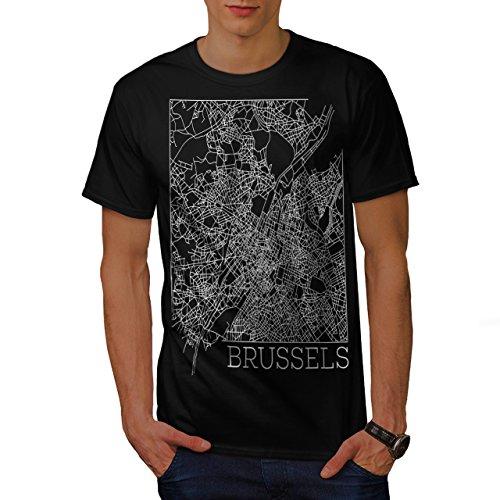belgium-brussels-map-big-town-men-new-black-s-t-shirt-wellcoda