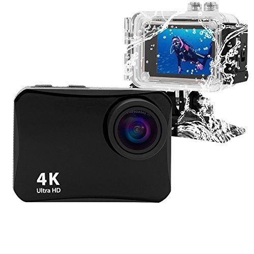 Vmotal GSV8560 4K WiFi Action Camera con Custodia Impermeabile, Regalo di Natale Fotocamera Sportiva Ultra HD / 16MP / 150 Gradi di grandangolo / 2' LCD/Immersione Fino a 60M (Nero)