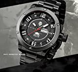INFANTRY® Herren Analoges Quarzwerk Armbanduhr Datum Day Sport Schwarz Edelstahl Uhrenband World of Tanks - 4