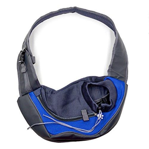 Zaino Sling Bag Hubulk Pet Dog cucciolo del gatto Carrier Mesh di viaggio della spalla del Tote (Blu, S)