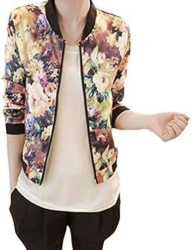 Coversolate Las mujeres 1PC colocan la chaqueta imprimida floral del bombardero de la cremallera larga de la manga