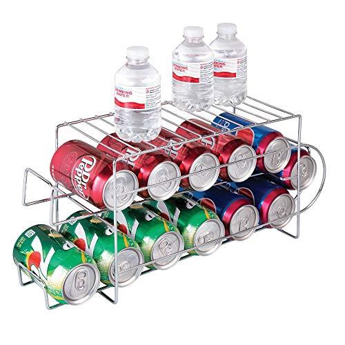 mDesign Organizador de frigorífico para Alimentos - Moderno y Estable Organizador de Cocina para latas de Bebida y conservas - Soporte y dispensador de latas de Metal para Nevera o Armario - Plateado