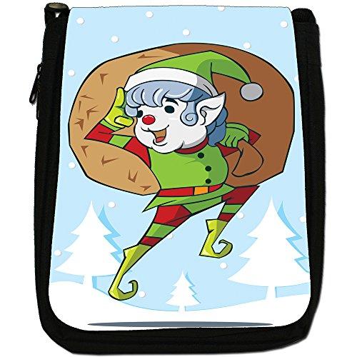 Renne di Babbo Natale Fun & Frolics Medium Nero Borsa In Tela, taglia M Cheeky Elf With Bag Of Gifts