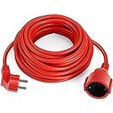 SIMBR Alargador Electrico 10m IP20 H05VV Cable Alargador Corriente IP20 H05VV Alargador Corriente para Exteriores Prolongador Electrico de Color Rojo