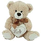 Teddy Kuschelbär Plüschbär Herzbär LOVE, supersüss mit Herz hochwertige Stickerei ' LOVE' beige-braun