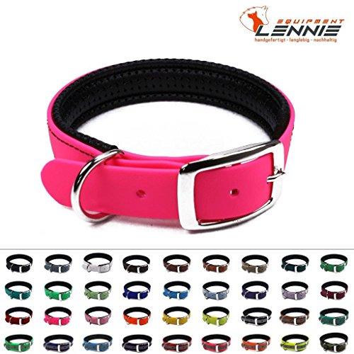LENNIE BioThane Halsband, gepolstert, Dornschnalle, 25 mm breit, Größe 50-58 cm, Neon-Pink, Aufdruck möglich