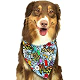 Hipiyoled Pet Bandanas School Youth Street Art Design Adjustbable Collars Pet Bandana Bibs for Puppy Cats