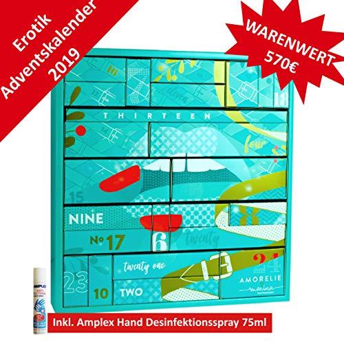 AMORELIE Erotischer Paar Adventskalender 2019 - Premium, 24 aufregend sinnliche Sex Geschenke, Erotik Advent Kalender im Wert von 570 €, im großen Kastenformat mit Boxen - 37 x 39 x 9cm