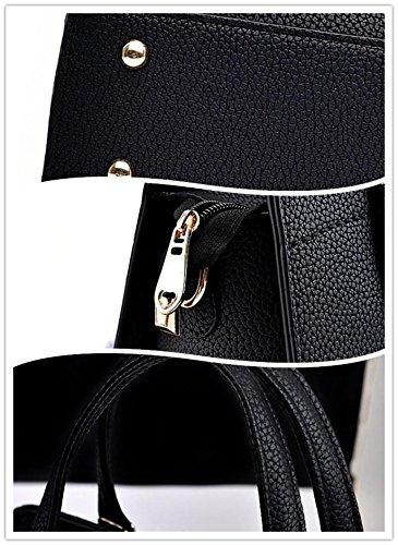 LDMB Damen-handtaschen Frauen PU-lederne große Kapazitäts-Schulter-Kurier-Handtaschen-justierbare einfache wilde Einkaufstasche Black