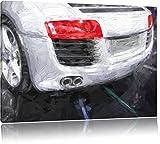 Audi R8 Heckansicht Format: 120x80 auf Leinwand, XXL riesige Bilder fertig gerahmt mit Keilrahmen, Kunstdruck auf Wandbild mit Rahmen, günstiger als Gemälde oder Ölbild, kein Poster oder Plakat