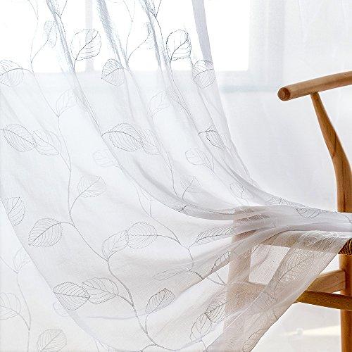Passen Perfekt Zu Sheer (Lazzzy Sheer Vorhänge für Wohnzimmer Open Weave Leinen Textur Gardinen für Schlafzimmer, 2Platten L95| Pair Leaf| White)