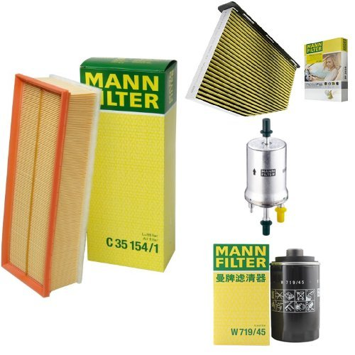Mann-Filter Service Paket mit 1x Luftfilter C35154/1, 1x Freciousplus Innenraumfilter FP2939, 1x Kraftstofffilter WK69, 1x Ölfilter W719/45