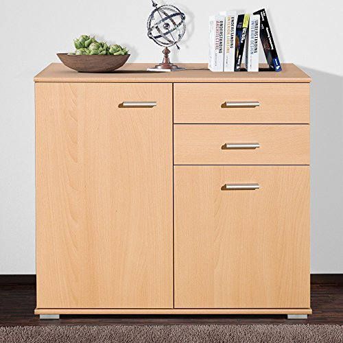 CSSchmal Sideboard mit 2 Türen 2 Schubladen Buche Highboard Kommode Standschrank Mehrzweckschrank Anrichte Typ 90