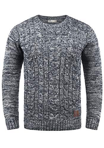 !Solid Philemon Herren Winter Pullover Strickpullover Grobstrick Pullover Zopfstrick mit Rundhalsausschnitt, Größe:L, Farbe:Insignia Blue (1991)