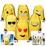 Dproptel 6 Different Emoji Drawstring Backpack Bags Cute Designs, Holiday Goody Birthday Party Favor Bags Supplies for Kids Teens Girls and Boys  6 Pack