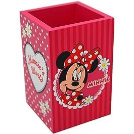 Disney 91011 – Minnie Portapenne in Legno in Confezione Regalo, 7x7x11 cm