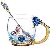 Moderne Nizza Blume Tee Kaffeebecher Mit Löffel 330ml 11,6 Unzen Großes Kurzes Blau