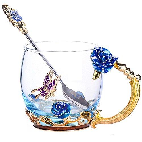 Goaeos regali festa della mamma per la mamma tazza da tè tazza di caffè tazze di vetro trasparente con cucchiaio set unico fiore di rosa smalto design di san valentino decorazione di compleanno regalo di nozze (short blu)
