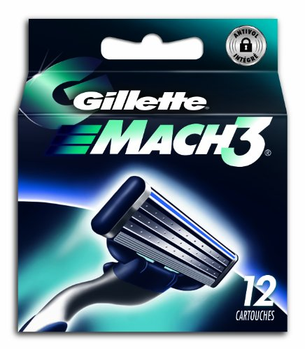 Gillette Mach 3replacement blades for shaver, Set of 12
