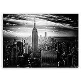 ge Bildet® hochwertiges Leinwandbild - Empire State Building in New York - Schwarz Weiß - 100 x 70 cm einteilig | Wanddeko Wandbild Wandbilder Bild auf Leinwand | 2283II D