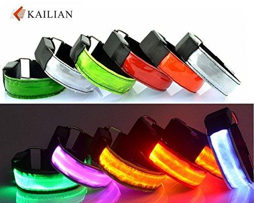 Kailian ® LED Armbänder Fahrradlampe Reflective Armband Wristband Blinklicht joggen Außen Schulweg Erwachsener Nacht Sicherheits Licht Reflektor Hundehalsband-Grün