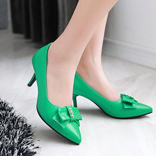 Mee Shoes Damen modern süß populär Kitten-Heel spitz mit Schleife Geschlossen Pumps Grün