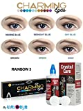 #6: Charming Eyes One-day Rainbow(Sky Blue, Grey, Green, Brown, Marine Blue, Midnight Blue Colors) Zeropower Contact Lens with Free Lens Care Kit (12 Lens Pack) By Lens4Eye