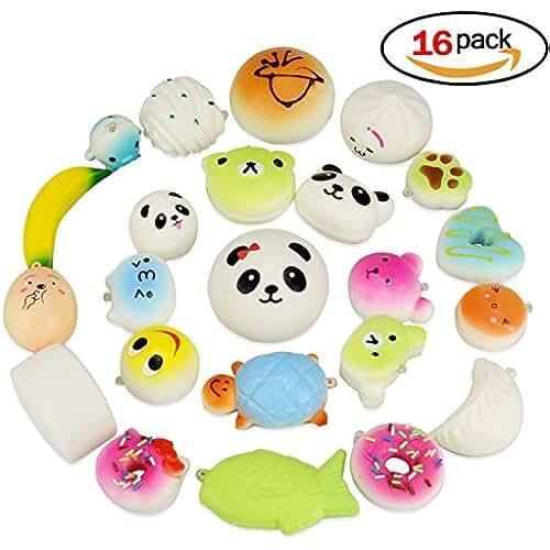 mini kawaii miniaturas kawaii Isuper 16 Piezas Kawaii Squishy Llaveros Juguetes de Alimentos Simulados Suave Blando Mini Colgantes Niños Regalo Encantos