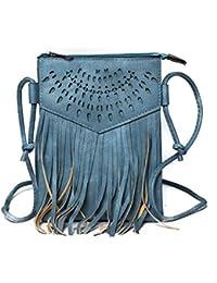 280369116f50b Kandharis Damen Umhängetasche Schultertasche Minibag Ethno CrossOver Tasche  mit Fransen…
